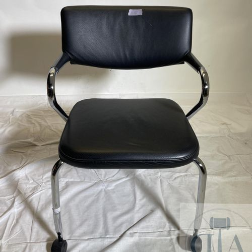 """Set of 4 """"Visaroll"""" chairs on wheels and stackable. Leather and stainless steel.…"""
