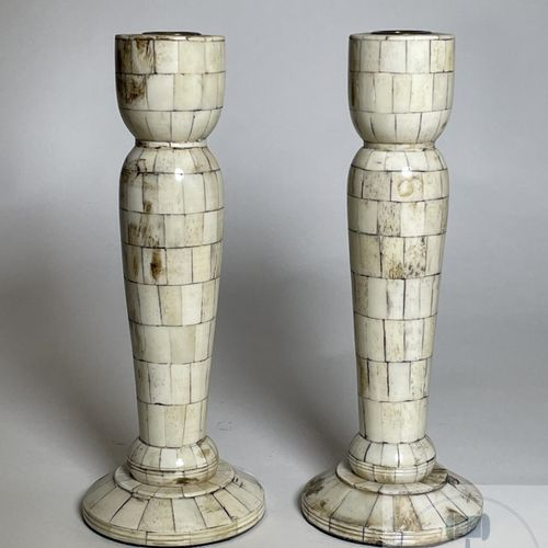 Pair of candlesticks decorated with bone veneers from the 19th century. VERY GOO…