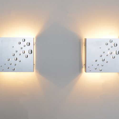 "Pair of wall lamps ""Sterrenregen"" in brushed aluminium by ""Jelle Jellis"" for RAA…"