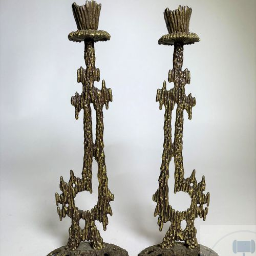 "Pair of gilded brass ""brutalist"" style candlesticks. Made in Israel by ""Weinberg…"