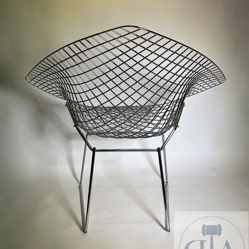 "Diamond"" armchair in chromed metal by Harry Bertoia for KNOLL. Circa 1990 Marked…"