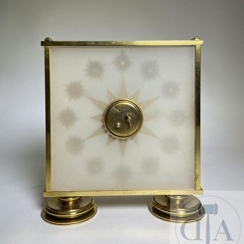Jaeger Lecoultre table clock. Gilded brass and glass. Swiss manufacture of Art D…