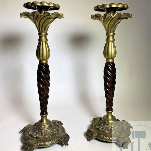 """Paire de chandelier de style """"Hollywood regency"""" en bronze doré et ambre vers 19…"""