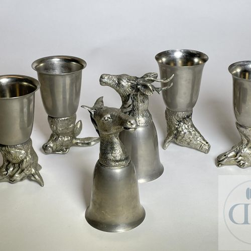 Set of 6 hunting glasses by Mauro Manetti. Silver plated metal around 1960. Rare…