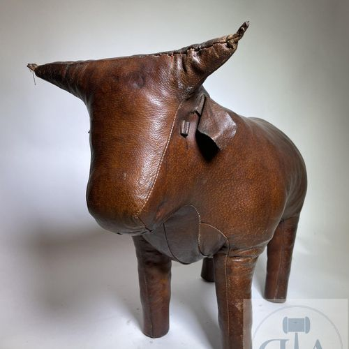 """A leather bull stool. Designer Dimitri Omersa and produced for """"Abercrombie and …"""
