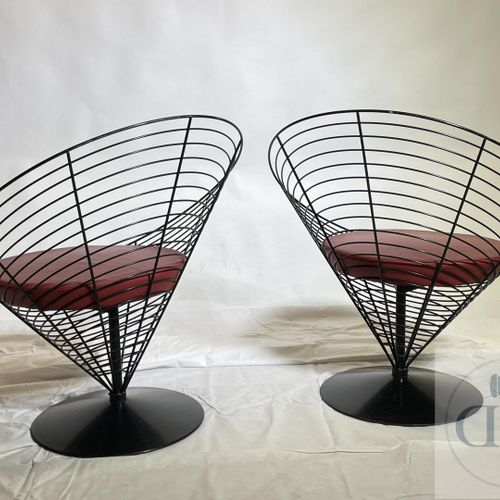 "Pair of armchairs modelled ""Wire cone"" by Verner Panton. Manufactured by Fritz H…"
