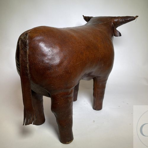 "A leather bull stool. Designer Dimitri Omersa and produced for ""Abercrombie and …"