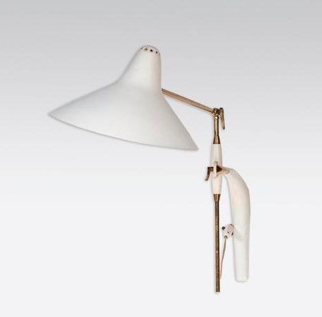 "Sconces"" adjustable wall lamp by Gebruder Cosak, Germany circa 1959. Brass, enam…"