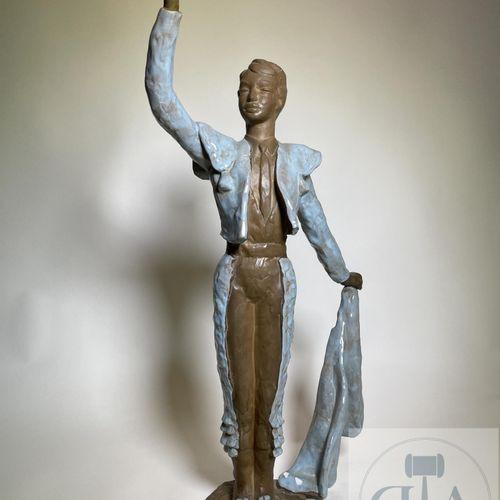 Sculpture representing a matador in movement by Paul Sersté (1910 2000). Enamell…