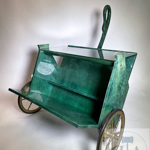 "Bar/restaurant trolley, model ""Swan neck"" by Aldo Tura. Green lacquered goat ski…"