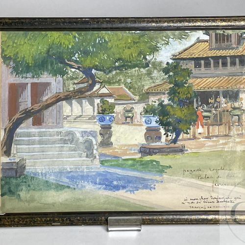 "Landscape of Indochina ""Royal Pagoda, Tea Palace"" by François de Marliave. Frenc…"