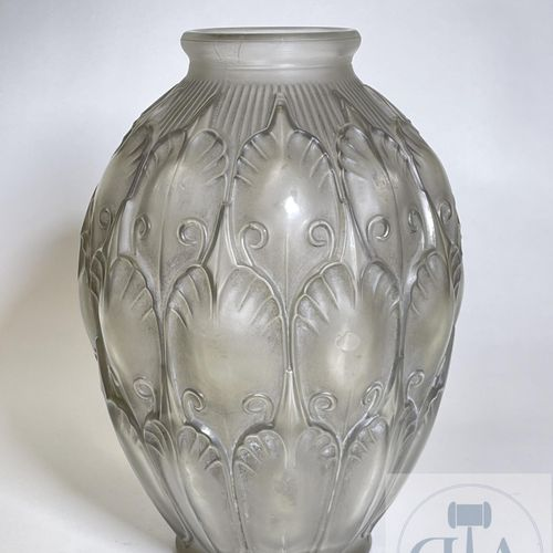 Vase patinated out of blown and moulded glass, manufacture of Val Saint Lambert.…