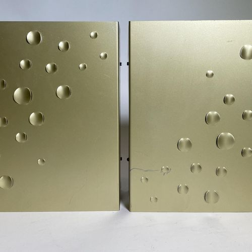 "Pair of wall lamps ""Sterrenregen"" in brushed aluminium gold colour by ""Jelle Jel…"