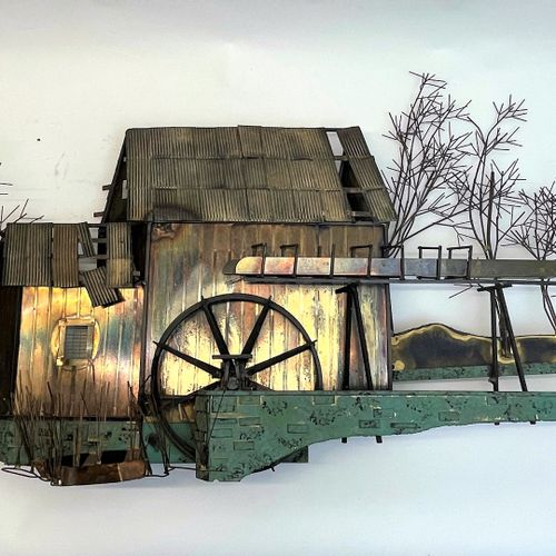 """Important wall sculpture representing a water mill by """"Curtis Jere"""". Brass, stee…"""