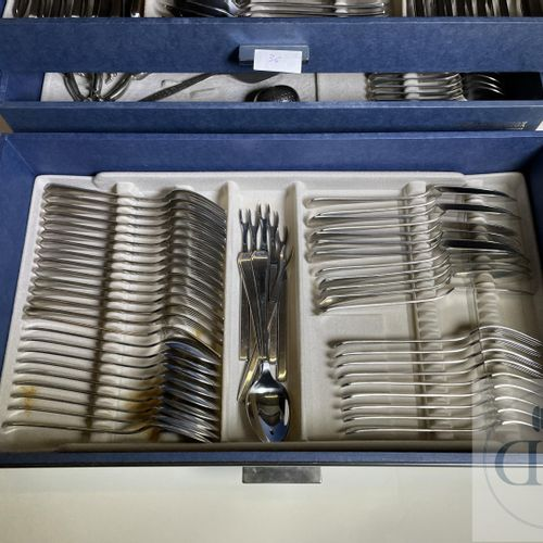 Stainless steel kitchenware for 12 persons in Art Deco style. Belgian manufactur…