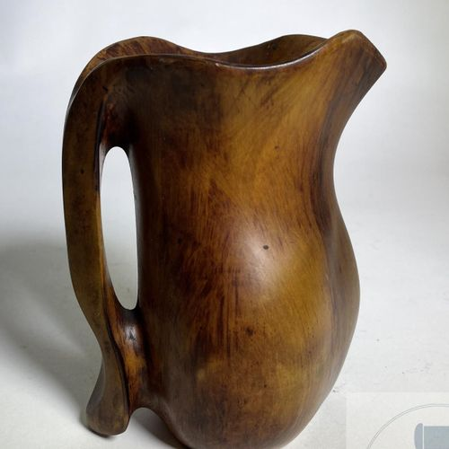 Pitcher by Alexandre Noll in carved wood around 1940. Signed. Rare. TBE. H 18 X …