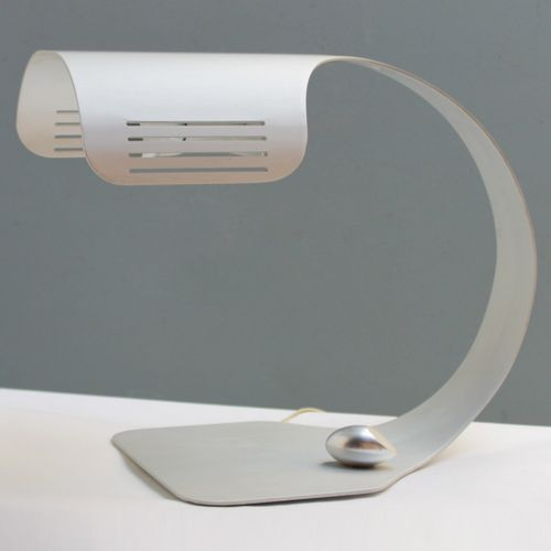 """Colomba"""" table lamp in brushed aluminum by Walter Moretti. Rare with original re…"""