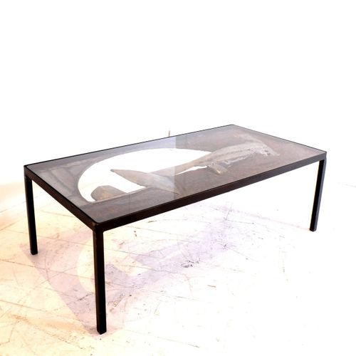 "Brutalist"" style coffee table in wrought iron. Signed and dated by the American …"