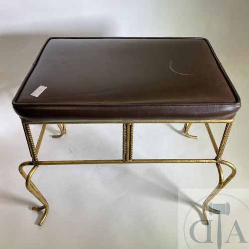 "Hollywood regency"" style stool in gilded wrought iron and leather around 1950. G…"