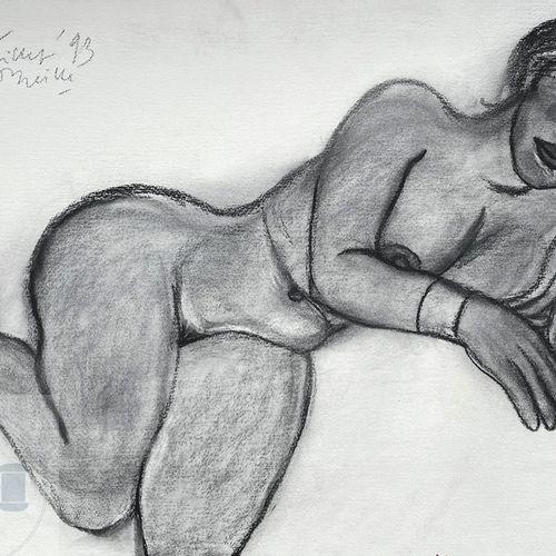 """Corneille/Œuvre originale illustrant """"Ellen"""" nue. Pastel sur papier. Signé et da…"""
