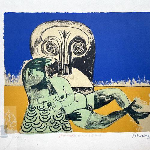 """Corneille/lithographie """"Femme oiseau"""" illustrant une femme nue. Signé EA et daté…"""