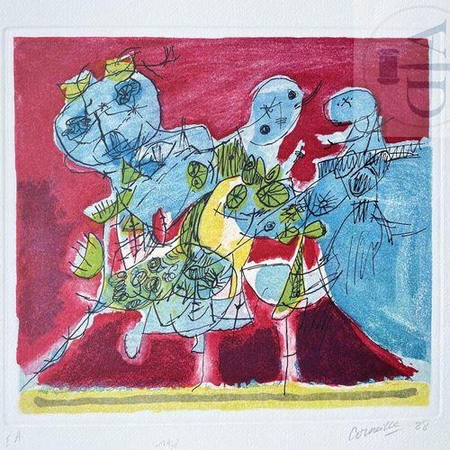 """Corneille/lithographie """"1948"""". Signé EA et daté 1988. TBE+. 80 X 60 cm 38 X 35 c…"""