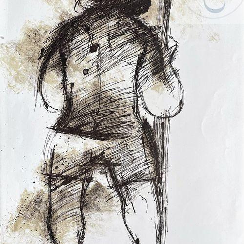 Sommeville/Lithographie noir et blanc illustrant un peronnage de dos. Signé et n…