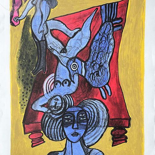 Corneille/lithographie illustrant des femmes nue dans un lit rouge. Signé EA 18/…