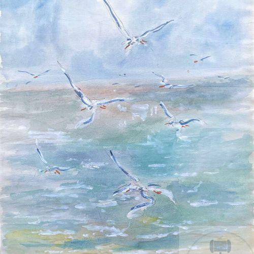 Milo Jean/Œuvre originale, vue de mer à Ostende en Belgique. Aquarelle signé ver…