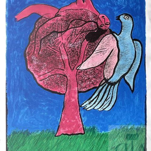 Corneille/lithographie illustrant une femme nue dans un arbre avec un oiseau. Si…
