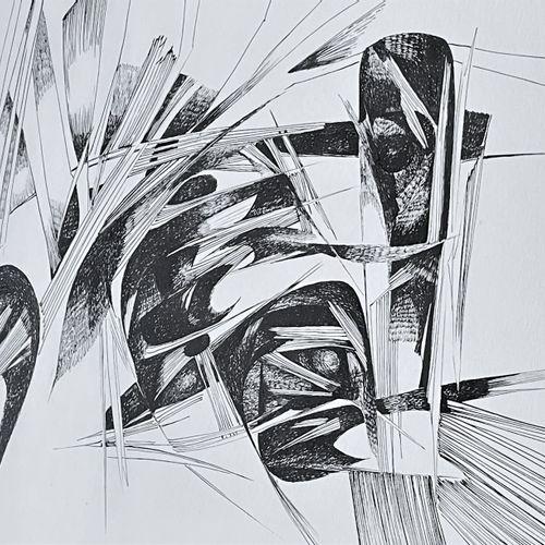 Lenleer Marie. Composition abstraite. Œuvre réalisée à l'encre de Chine, signée …
