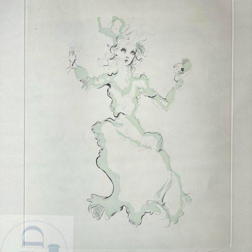 """Léonor Fini/Lithographie """"Femme à la vanité"""" vers 1980. Signé et n°/300 ex. TBE+…"""