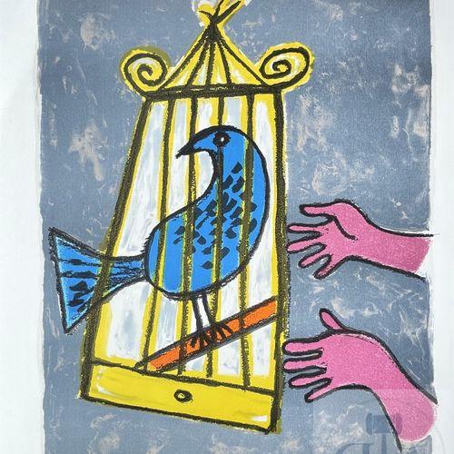"""Corneille/lithographie """"Ouvrez la cage à l'oiseau"""". Signé EA 20/30 et daté 1998.…"""