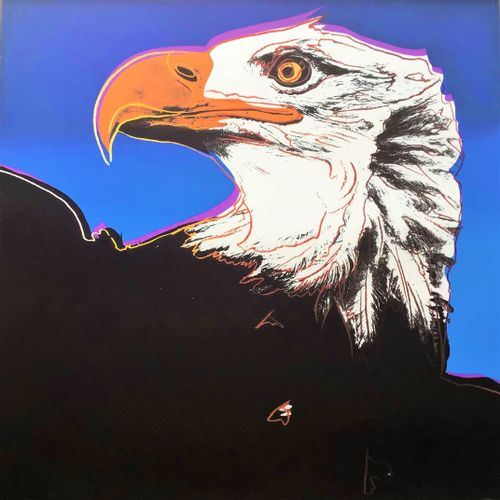 """Andy Warhol/Endangered species. Lithographie illustrant un aigle """"Pygargue à têt…"""