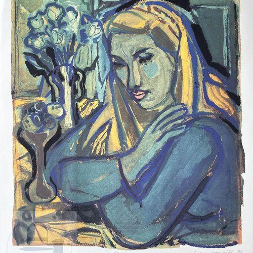 """Corneille/lithographie """"1947"""" illustrant une femme. Signé EA et daté 1988. TBE+.…"""