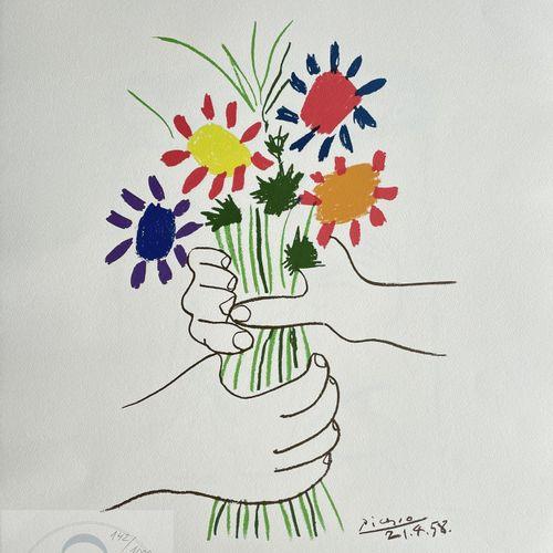 """Picasso/Lithographie """"Le bouquet"""" éditée en 1983 et n°/1000 ex. Etat neuf. 66 X …"""