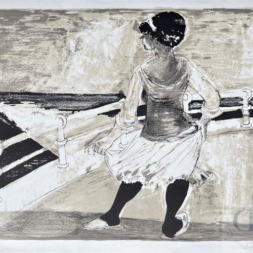 Sommeville/Lithographie noir et blanc illustrant une dame au bord de mer. Signé …