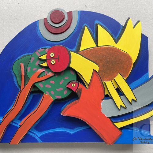 Corneille/Sculpture en bois peint. Signé n°EA 8/20 et daté 2002. Rare. TBE+. 35 …