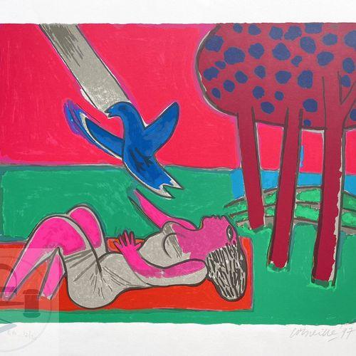 """Corneille/lithographie """"Envol"""" illustrant une femme allongée et un oiseau. Signé…"""