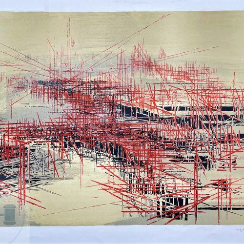 Roger Dudant/Lithographie illustrant un paysage abstrait, signée et n°EA.TBE.7…