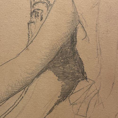 Paul Delvaux. Portrait de petite fille assise dans un fauteuil. Mine de plomb su…