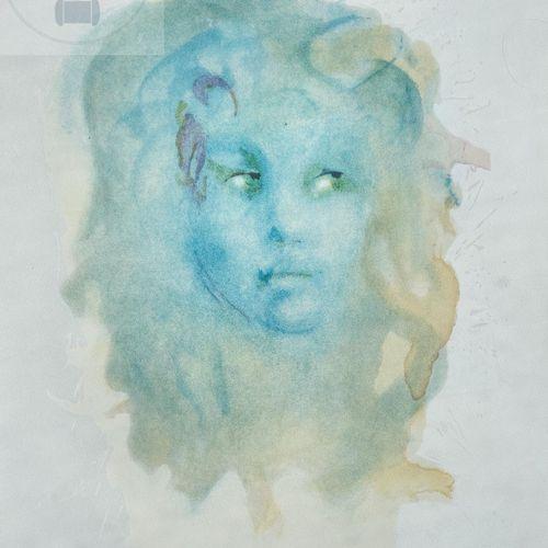 """Léonor Fini/Lithographie """"Visage bleu"""" vers 1980. Signé et n°/300 ex. Etat neuf.…"""