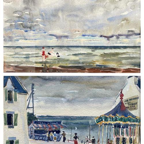Morès A/Œuvres originales. Paire de paysages de bord de mer. Aquarelles signées …