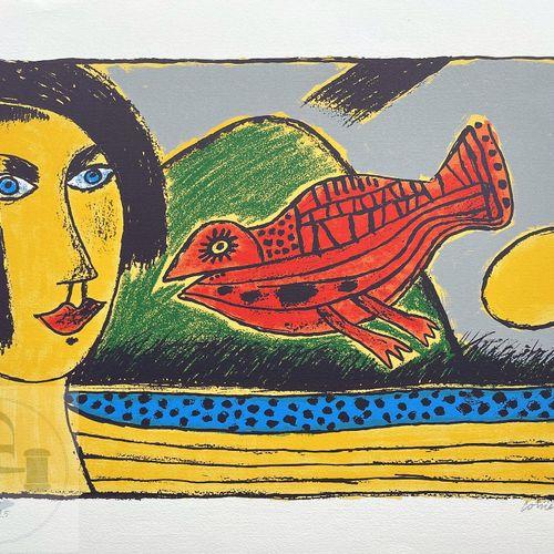 Corneille/lithographie illustrant une femme et un oiseau. Signé EA 23/25 et daté…