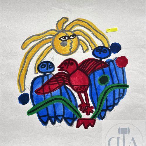 Corneille/Lithographie illustrant un soleil et un oiseau. Signé EA et n°/25. TBE…