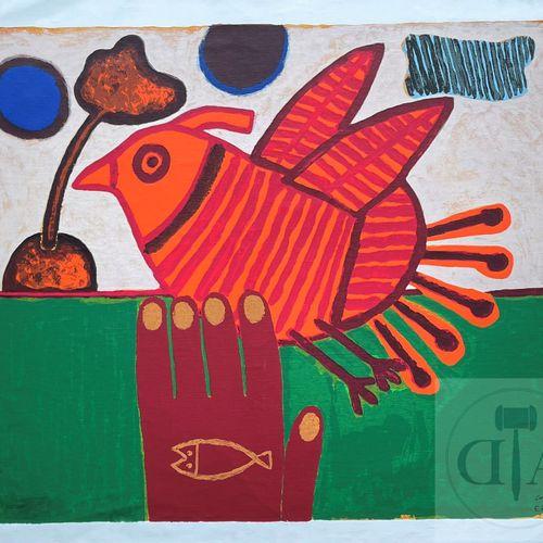 Corneille/Importante lithographie illustrant une main et un oiseau. Impression s…