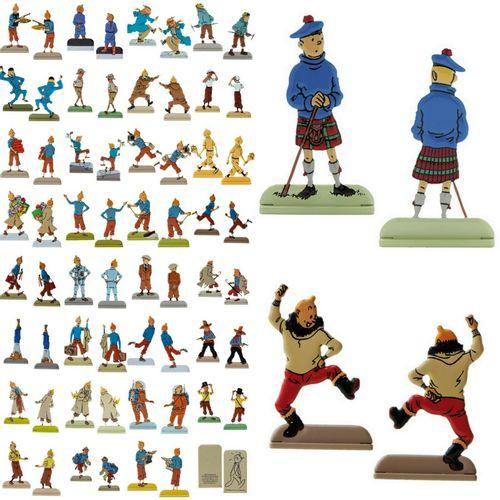 Hergé/Tintin. Ensemble de 24 figurines métaliques en relief représentant Tintin …
