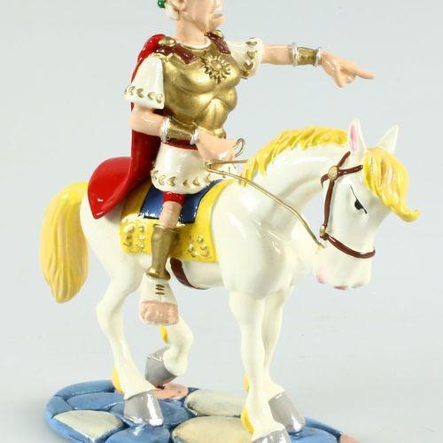 """Uderzo/Astérix. Ref 4223 """"Jules César à cheval"""" édité à 1000 ex vers 2004. Certi…"""
