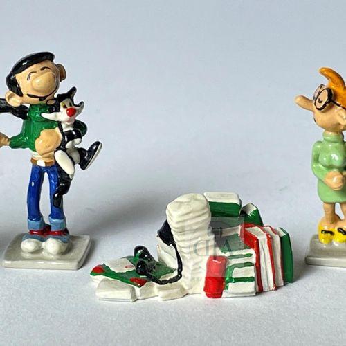 """Franquin/Gaston. Minipixi ref 2162 """"5 figurines"""" édité vers 1997. Emballage et c…"""