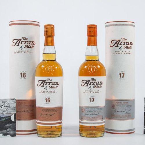 Collectie van 2 flessen whiskey, The Arran Malt, Single Malt Whiskey, 16 en 17 j…